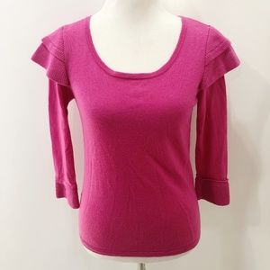 TIBI M Sweater Solid Pink Pullover 3/4 Sleeve Wool